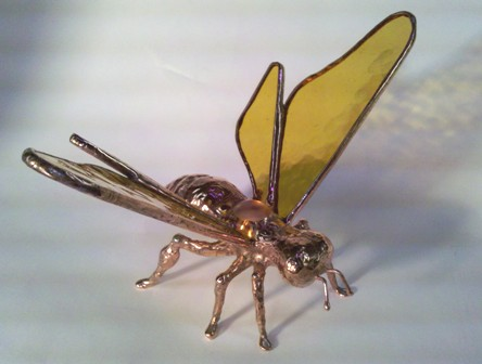 Standing Bee in Copper with Amber Wings